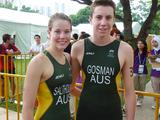 Ellie Salthouse and Michael Gosman after winning silver in the team triathlon.