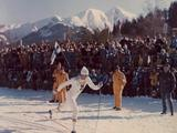 Innsbruck 1976: Soviet cross-country skier Sergej Saweljew passes the crowds during a men's 15km race and went on to win the gold medal.