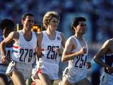 Sebastian Coe of Great Britain leads team mates Steve Cram and Steve Ovett in the final of the 1500m. Coe won the gold medal in a time of 3 minutes 38.4 seconds.