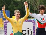 Cyclists (from left to right) Jay McCarthy of Australia, Rafael Ferreira Reis of Portugal and Michael Andersen of Denmark after placing in the Junior Men's Cycling Time Trial Finals. Ferreira Reis won the event with a time of 3:56.64, McCarthy placed 2nd with a time of 3:59.63 and Andersen placed 3rd with a time of 4:00.40.