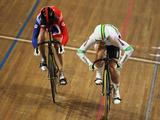 Anna Meares of Australia beats Victoria Pendleton of Great Britain in the semi-finals of the Womens' Sprint during the UCI Track World Championships at the Omnisport arena in Apeldoorn, Netherlands.