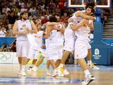 Marc Gasol #4 (L) of Spain celebrates with his teammates after they defeated Lithuania by a score of 91-86 during a men's semifinal baketball game at the Wukesong Indoor Stadium on Day 14 of the Beijing 2008 Olympic Games on August 22, 2008 in Beijing, China.