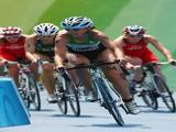 Vanessa Fernandes of Portugal competes in the cycling portion of the women's triathlon event at the Triathlon Venue.
