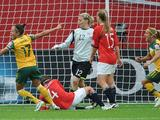 Kyah Simon celebrates scoring the winning goal during the FIFA Women's World Cup 2011 Group D match between Australia and Norway in Leverkusen, Germany. Australia won the match 2-1 and will now play against Sweden in the quarter finals.