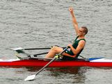 Taylor Wilczynski of Tasmania celebrates winning the mens single scull final during day four of the Australian Youth Olympic Festival at the Sydney International Regatta Centre on January 17, 2009 in Sydney, Australia.