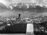 Innsbruck 1964: Jumping on the last day of the Winter Games watched by about 80,000 people, the competitors in the 80m ski jump compete for the gold medal.
