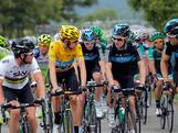 (L-R) Sky Procycling teammates Mark Cavendish of Great Britain, Bradley Wiggins of Great Britain in the race leader's yellow jersey, Christopher Froome of Great Britain, Michael Rogers of Australia and Bernhard Eisel of Austria have a chat at the front of the peloton during stage fourteen of the 2012 Tour de France from Limoux to Foix on July 15, 2012 in La Bastide Sur-L'Hers, France.