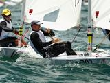 Triple World Champion Tom Slingsby competes in the Laser Men's One Person Dinghy Yellow fleet during the 2011 ISAF Sailing World Championships in Perth, Australia.