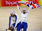 Anthony Kappes (R) and his pilot rider Barney Storey of Great Britain celebrate to win the Men's Sprint (B&VI) Track Cycling event at Laoshan Velodrome during day four of the 2008 Paralympic Games on September 10, 2008 in Beijing, China.