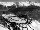 St. Moritz 1948: Aerial view of an outdoor stadium used for the Opening Ceremony.