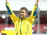 Silver medalist Australia's Brandon Starc reacts during the awarding ceremony for boys' high jump final
