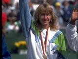 Germany's Steffi Graf waves to the crowd after receiving her gold medal in the women's single tennis competition. Graf defeated Gabriella Sabatini of Argentina 6-3, 6-3 in the final to claim the gold. Getty Images