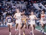 Steve Ovett (#279) pulls ahead of Sebastian Coe (#254) to win the 800m, one of two memorable duels the in which the men from Great Britain competed.