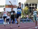 Steven Solomon of NSW wins the Mens 400 Metres Open during the Australian Athletics National Campionships at Olympic Park in Melbourne with a time of 45.58secs.
