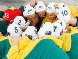 Australia's Stingers discuss tactics before thier 8-7 win over USA during the Water Polo Pan Pacs in Melbourne, VIC.