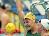 Alicia Coutts celebrates finishing the Women's 200m Individual Medley Final in first place and wins the gold medal at the Delhi 2010 Commonwealth Games.