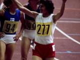 Montreal 1976: Irena Szewinska of Poland celebrates after winning a gold medal in the women's 400m.