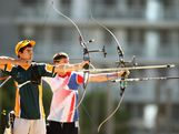 Taylor Worth of Australia competes in the men's archery team competition during day three of the Australian Youth Olympic Festival at the Sydney Olympic Park Archery Centre, on January 16, 2009 in Sydney, Australia.