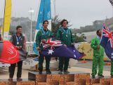 Mark Spearman and Thomas Vincent receive laser team gold at 2015 Pacific Games.