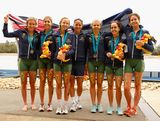 The Australian womens teams who placed first and second pose follwing the womens triathlon teams relay during day four of the Australian Youth Olympic Festival at the Sydney International Regatta Centre on January 17, 2009 in Sydney, Australia.