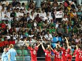 Crowds cheer at the end of the Turkey vs Iran girls' football bronze medal match. Turkey won 3-0.