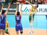 Igor Yudin displays some impressive form against Serbia at the FIVB Men's World Olympic Qualifying Tournament at Tokyo Metropolitan Gym. Serbia took out the match 25-18, 25-19, 25-18