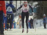 Vida Vanciene of the Soviet Union strides in action during the women's 10km cross country skiing competition, and finishes in first place for the gold medal with a winning time of 30:08.3 minutes.