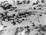 Squaw Valley 1960: A model depicts the layout of several buildings, including the speed-skating oval, in the Squaw Valley Winter Olympics complex.