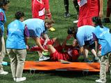 Turkey's Duran Eda is injured in the Turkey versus Iran girl's preliminary football match. Turkey beat Iran 4-2.