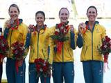 Lisa Oldenhof, Hannah Davis, Chantal Meek and Lyndsie Fogarty of Australia celebrate after winning the bronze medal in the Kayak Four (K4) 500m Women Final event at the Shunyi Olympic Rowing-Canoeing Park on Day 14 of the Beijing 2008 Olympic Games on August 22, 2008 in Beijing, China.