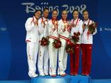 (L-R) Silver medalists Andrea Fuentes and Gemma Mengual of Spain, gold medalists Anastasia Davydova and Anastasia Ermakova of Russia and bronze medalists Emiko Suzuki and Saho Harada of Japan pose on the podium during the medal ceremony for the Synchronised Swimming Duet Free Routine Final at the National Aquatics Centre during Day 12 of the Beijing 2008 Olympic Games on August 20, 2008 in Beijing, China.