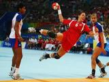 Else Marthe Soerlie Lybekk of Norway shoots at goal during the Women's Handball Gold Medal Match between Norway and Russia held at the National Indoor Stadium on Day 15 of the Beijing 2008 Olympic Games on August 23, 2008 in Beijing, China. <br />