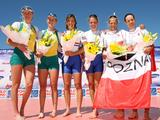 (L-R) Kim Crow and Kerry Hore of Australia, Katherine Grainger and Anna Watkins of Great Britain and Julia Michalska and Magdalena Fularczyk of Poland pose after winning silver, gold and bronze respectively in the Women's Double Sculls Final