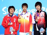 Silver medalist Li Isabelle Siyun of Singapore, gold medaslist Gu Yuting of China and bronze medalist Yang Ha Eun of South Korea