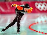 Germany's Claudia Pechstein skates en route to a gold medal in the women's 5,000m speed skating.