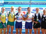 Kerry Hore and Kim Crow (silver) Anna Watkins and Katherine Grainger of Great Britain (gold) Fiona Paterson and Anna Reymer of New Zealand (bronze) celebrate with their medals after the Women's Double Sculls final during the FISA Rowing World Championships at Lake Bled in Bled, Slovenia. (Photo by Richard Heathcote/Getty Images)