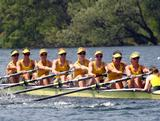 (L-R) Robyn Smith, Renee Chatterton, Hannah Vermeersch, Sarah Cook, Tess Gerrand, Alexandra Hagan, Sally Kehoe, Phoebe Stanley and Elizabeth Patrick row in the women's eight during Day 1 of the 2012 Samsung World Rowing Cup III on Lucerne Rotsee on May 25, 2012 in Lucerne, Switzerland.