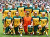 Players of Australia (back L-R) Collette McCallum, Elise Kellond-Knight, Kim Carroll, Emily van Egmond, Kyah Simon, Lisa de Vanna, (front L-R) Servet Uzunlar, Caitlin Foord, Melissa Barbieri, Heather Garriock, and Tameka Butt before the FIFA Women's World Cup 2011 Group D match between Brazil and Australia 2011 in Moenchengladbach, Germany.