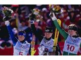 Deborah Compagnoni wins the silver medal, Hilde Gerg of Germany wins the gold medal and Zali Steggall of Australia wins the bronze medal in the womens slalom at Shiga Kogen during the 1998 Olympic Winter Games in Nagano, Japan.