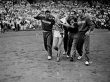 London 1948: Czech runner Emil Zatopek (1922-2000) is helped by Yugoslavian athletes after winning the 10,000m in a Olympic record time of 29:59.6.