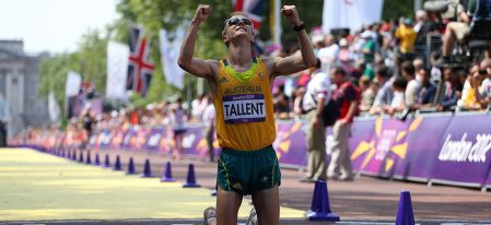 <h5>Jared Tallent 50km walk silver London 2012</h5> <p>Jared Tallent of Australia celebrates after crossing the finish line and claiming silver in the Men's 50km Walk on Day 15 of the London 2012 Olympic Games on the streets of London on August 11, 2012 in London, England.</p> © 2012 Getty Images