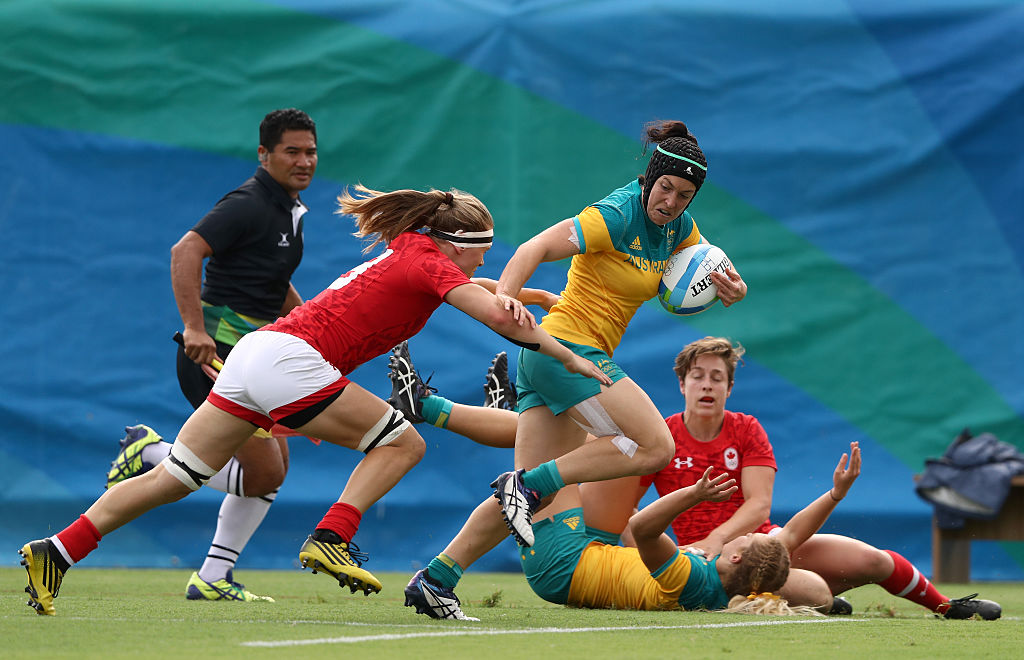 Australia's women's rugby team wins a gold medal.